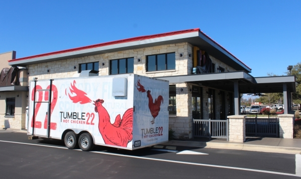 The Tumble 22 Hot Chicken food trailer is parked outside the former PDQs at 4501 183A in Cedar Park on Jan. 28. (Brian Perdue/Community Impact Newspaper)