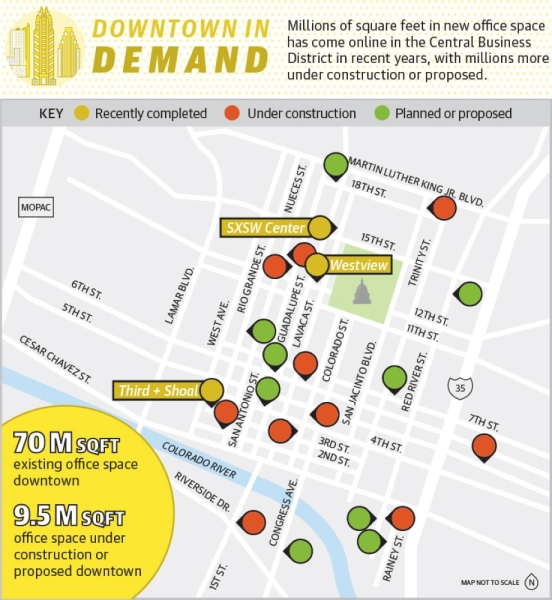 Millions of square feet in new office space has come online in the Central Business District in recent years, with millions more under construction or proposed. (Downtown Austin Alliance/Community Impact Newspaper)