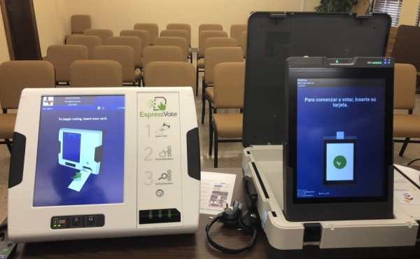 Fort Bend County examined two different voting systems before selecting Elections Systems and Software, left, for its new voting machines. (Beth Marshall/Community Impact Newspaper)