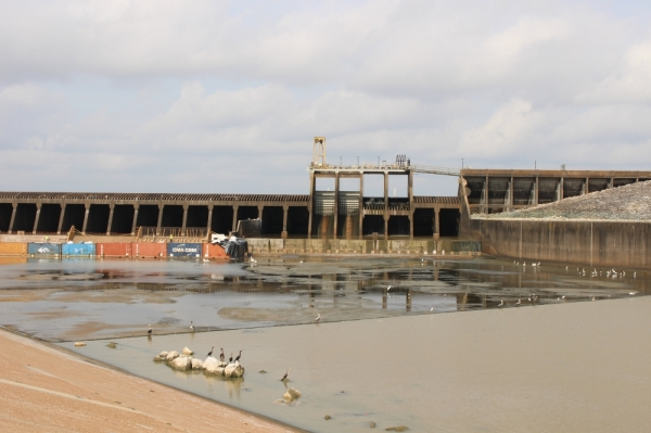 Thalle Construction Company began work on the Lake Houston Spillway Dam Rehabilitation Project in May 2019. (Kelly Schafler/Community Impact Newspaper)