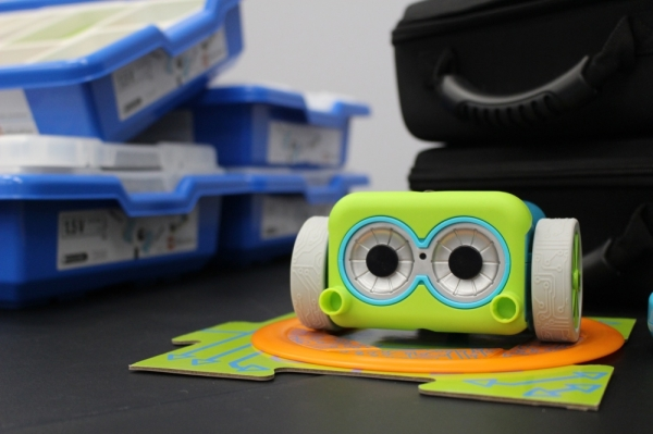 Botley, the coding robot, is available for young children to use in the Tomball Innovation Lab. (Anna Lotz/Community Impact Newspaper
