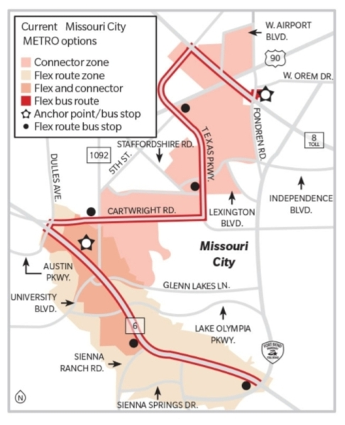 METRO is combining the 363 Missouri City Community Connector and the 364 Missouri City Flex Route into one service in February. METRO has not yet released maps of what the expanded Community Connector's service area will be. (Community Impact Newspaper)