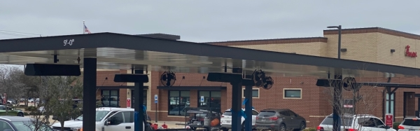 The new drive-thru canopy is designed with additional exterior lighting. (Courtesy Chick-fil-A)