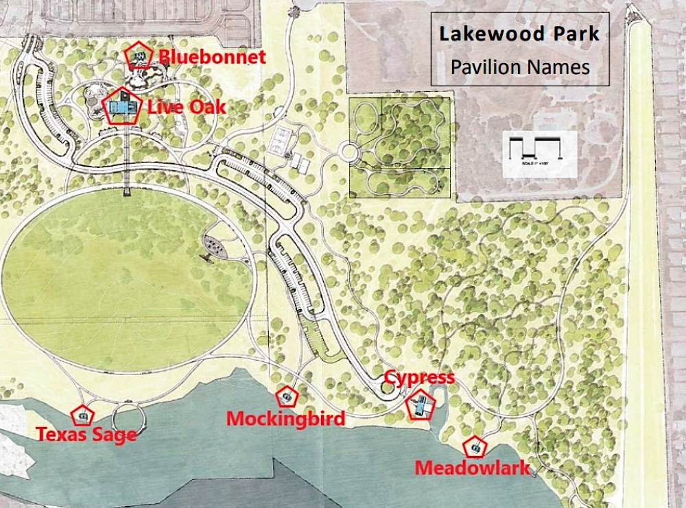This map shows the locations of the Lakewood Park's six pavilions. (Courtesy city of Leander)
