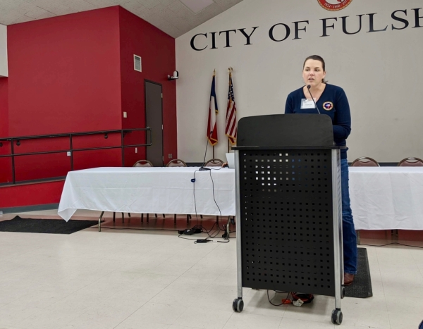 Fulshear Economic Development Director Angela Fritz speaks at the Jan. 30 public meeting about Fulshear's transit study. (Jen Para/Community Impact Newspaper)