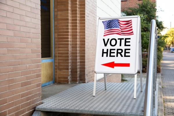 polling place vote here sign adobe stock image