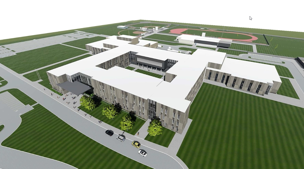 The school's courtyard, which is located in the middle of the school, will serve as a central gathering space for students. (Renderings courtesy New Caney ISD)