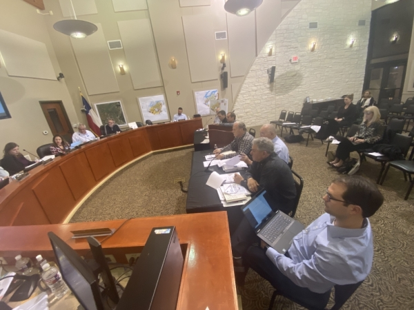 Members of the comprehensive plan steering committee spoke with Lakeway City Council during a Feb. 3 work session. (Brian Rash/Community Impact Newspaper)