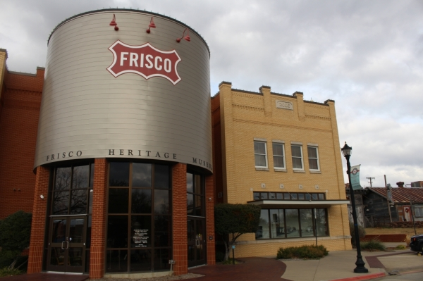 The Frisco Heritage Center features historic buildings, a steam locomotive, a wooden caboose and the Frisco Heritage Museum. (William C. Wadsack/Community Impact Newspaper)