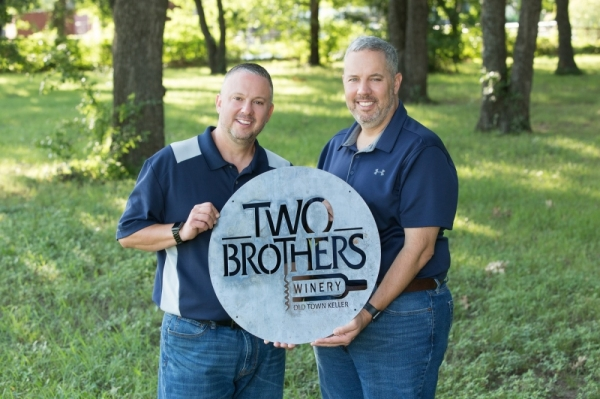 Operated by brothers Brian and Eddie Kirkwood, Two Brothers Winery opened Nov. 29 in Old Town Keller. (Courtesy Two Brothers Winery)