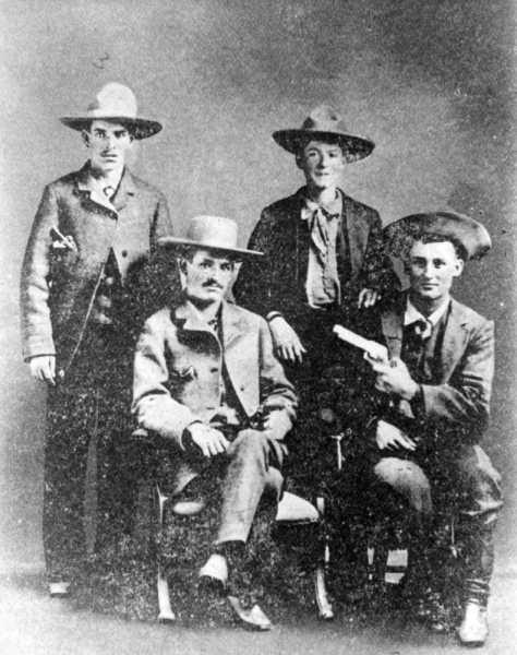 Sam Bass (back row, far left) formed a band of outlaws who robbed trains, stagecoaches and banks in the late 1800's.
