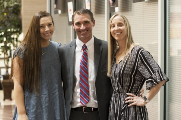 Jeff Smith attended the meeting with daughter Allie and wife, Kelli. Their son, Jake, was unable to attend. (Courtesy Plano ISD)