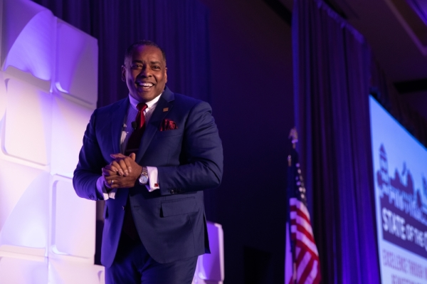 Plano Mayor Harry LaRosiliere revealed plans for Plano 4.0, a concept for Plano's future development as part of his State of the City address at the Plano Chamber of Commerce 2020 annual meeting. (Liesbeth Powers/Community Impact Newspaper)