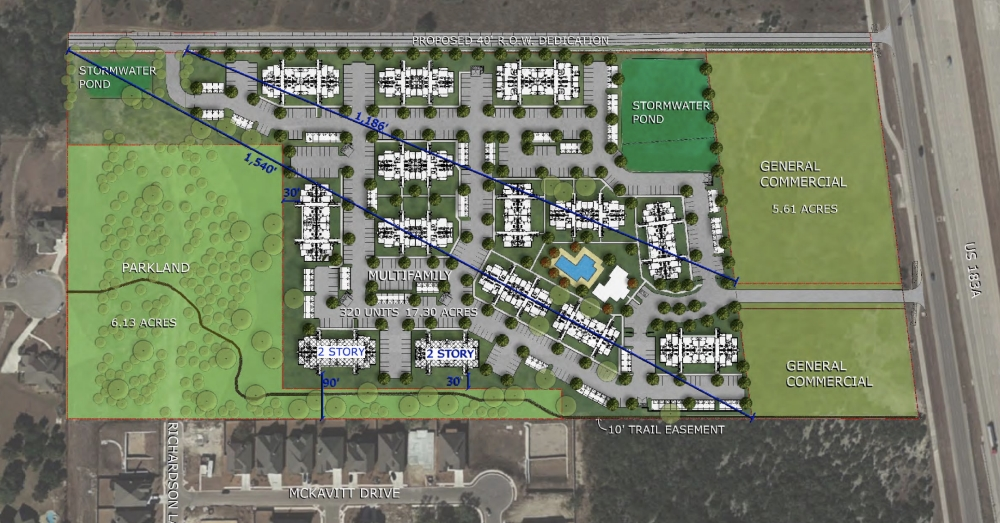 This slide from the Feb. 6 presentation to Leander City Council shows the proposed development. (Courtesy city of Leander)