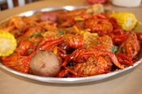 The Fisherman's Catch special at Crab Heads Cajun Boil in Missouri City comes with 2 pounds of crawfish. (Claire Shoop/Community Impact Newspaper)
