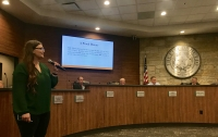 Jennifer Burrington, an economic development specialist for the city of Hutto, announced EDC Moving Systems as a new tenant in Hutto's Innovation Business Park. (Kelsey Thompson/Community Impact Newspaper)