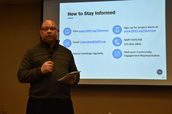 Vice President of Capital Construction John Rhone spoke about the Silver Line project at the Feb. 6 meeting. (Makenzie Plusnick/Community Impact)