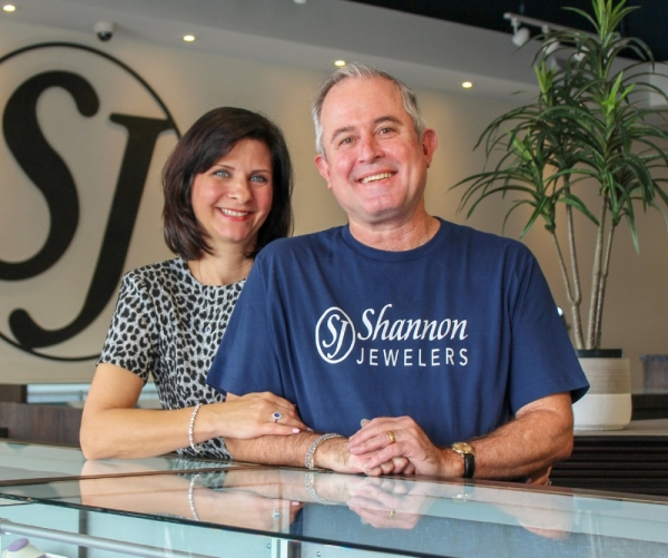Deborah and Claude DeShazo met 11 years ago while working at the original Shannon Fine Jewelers on FM 1960. They now own and operate Shannon Jewelers located in the Grand Parkway Marketplace. (Adriana Rezal/Community Impact Newspaper)