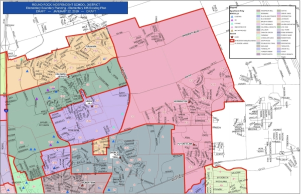 This map shows the current attendance boundaries for Herrington Elementary School in Round Rock ISD. (Map courtesy Round Rock ISD)
