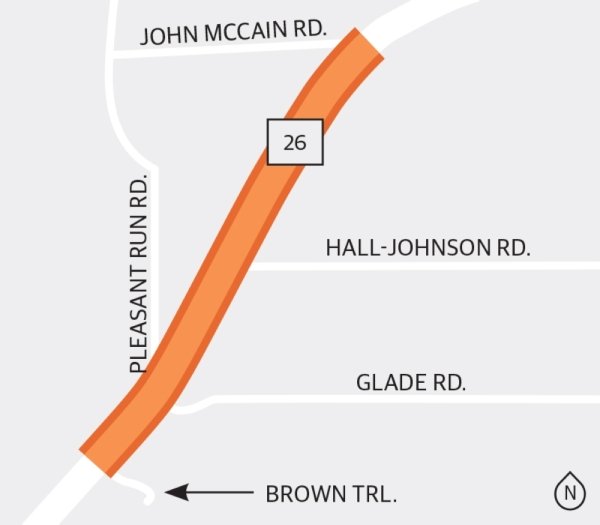 Crews have recently completed left-turn lanes and median curbs from Brown Trail north to John McCain Road in Colleyville on SH 26. (Graphic by Ellen Jackson/Community Impact Newspaper)