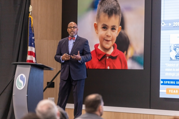 Spring ISD Superintendent Rodney Watson announces the launch of four new specialty programs, plans for a second early college program and the expansion of full-day pre-K to all 25 elementary campuses during the annual State of the District event Feb. 5. (Courtesy Spring ISD)