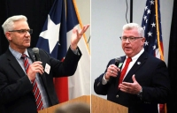 From left: Candidates for Precinct 1 commissioner Billy Graff and Robert Walker speak at the Lake Conroe Area Republican Women forum. (Andy Li/Community Impact Newspaper)