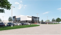 A rendering shows what the new Town North Mazda dealership could look like upon reconstruction. (Rendering courtesy VLK Architects)