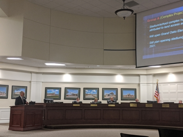 Tomball ISD Chief Financial Officer Jim Ross presented a construction update to the TISD board of trustees during a workshop meeting Feb. 10. (Anna Lotz/Community Impact Newspaper)