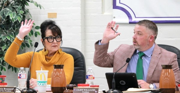 From left: Willis ISD board Vice President Rebecca Broussard and President Cliff Williams voted in favor of the $175 million bond. (Andy Li/Community Impact Newspaper)