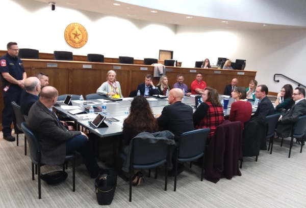 Leander City Council hosted Leander ISD's board of trustees for a Feb. 11 joint meeting in Leander. (Brian Perdue, Community Impact Newspaper)