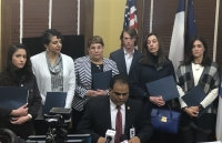 Fort Bend County Judge KP George reads a statement during a press conference Feb. 11 with the families of the Citgo 6, businessmen who have been detained in Venezuela for over two years. (Beth Marshall/Community Impact Newspaper)