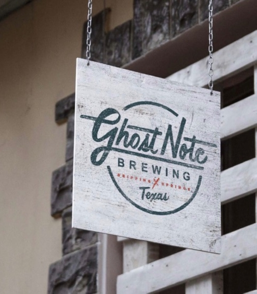 "A photo of a sign reading ""Ghost Note Brewing."""