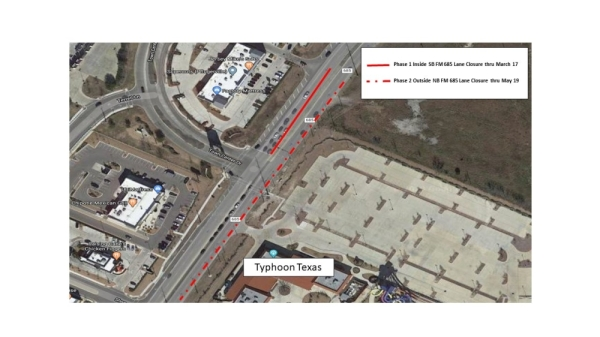 Construction is set to begin Feb. 14 on FM 685 near Typhoon Texas in Pflugerville. (Courtesy city of Pflugerville)