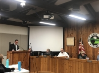 Financial adviser Jerry Kyle provided the board with a presentation on the potential financial implications of a $22 million bond. (Amy Rae Dadamo/Community Impact Newspaper)