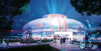 This rendering shows what the exterior of the new robotics arena may look like. (Courtesy Gensler Austin)