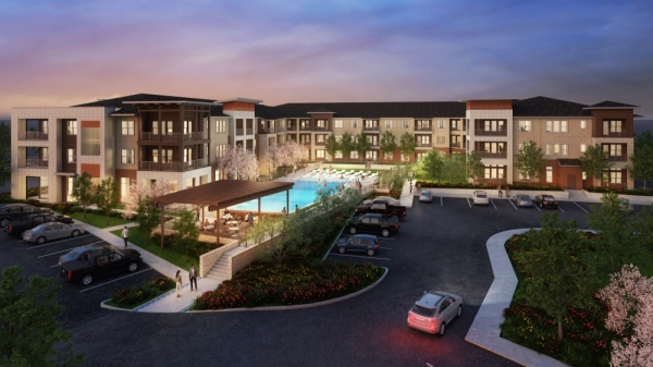 The apartments, located at 1703 Rockhill Road, are expected to open summer 2021. (renderings courtesy JPI)