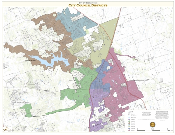 The Georgetown mayor is elected at-large and the council members are elected from single-member districts. This map shows the district breakdown in the city. (Courtesy city of Georgetown)