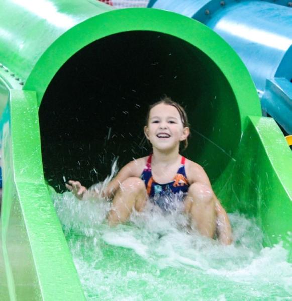 Splash Shack's eight indoor slides are open to children 3 feet or taller. (Brian Perdue, Community Impact Newspaper)