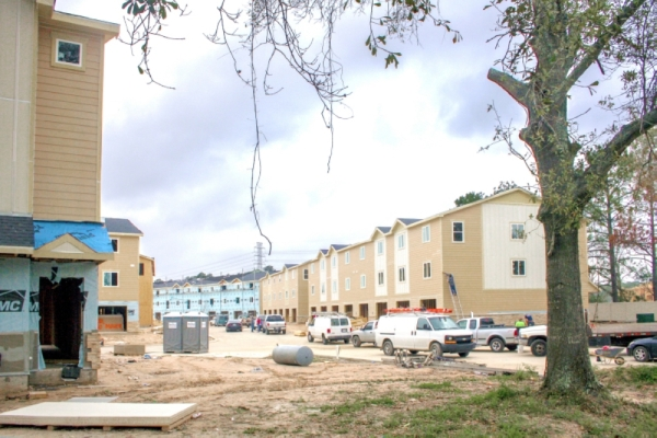 A new townhome project along Telge Road has sparked concerns about residents in nearby communities that the project's location near Cypress Creek could worsen flooding. Developers with the project said they have gone above and beyond in following regulations. (Shawn Arrajj/Community Impact Newspaper)