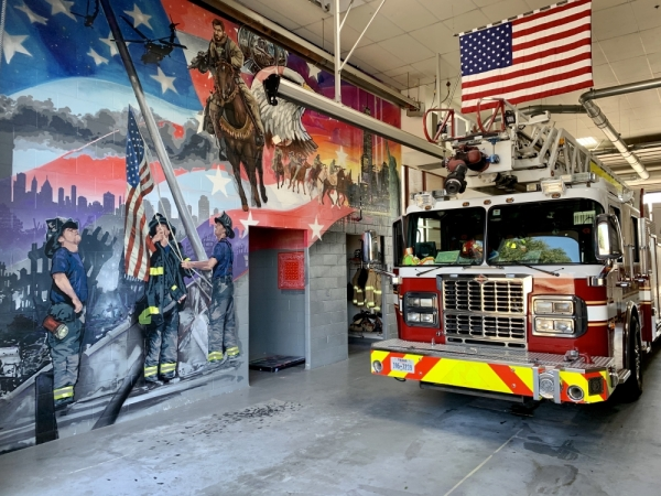A mural showcasing the events of 9/11 has been hand-painted in the bay area of Fire Station 8. (Courtesy Plano Fire-Rescue)