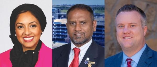 Sadaf Haq, Sai Krishna and Brian Livingston will appear on the May 2 ballot for the Frisco City Council Place 6 seat. (Courtesy Sadaf Haq/Courtesy Sai Krishna/Courtesy Brian Livingston)
