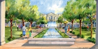 This rendering shows a view of the downtown residences' central courtyard. (Rendering courtesy city of Southlake)