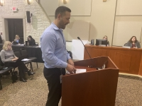 Lakeway Communications Director Jarrod Wise addressed City Council during the Feb. 18 meeting. (Brian Rash/Community Impact Newspaper)