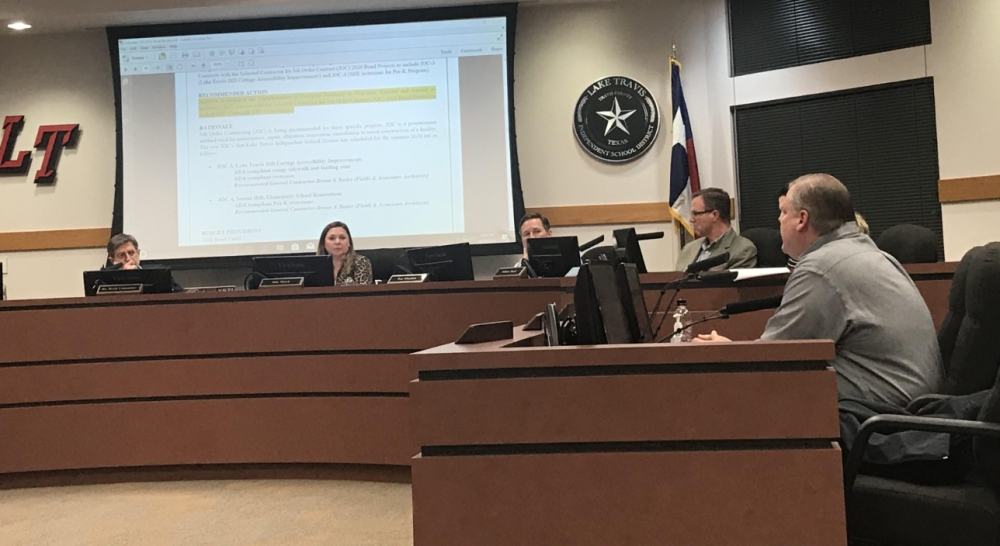 Johnny Hill discussed an agenda item regarding increased special education population growth during a Feb. 19 meeting. (Amy Rae Dadamo/Community Impact Newspaper)