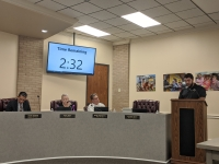 Matthew Fank, who spoke during the public comment period Feb. 17 opposing adoption of the city's dangerous animals ordinance, said he owns property on South Cherry Street in Tomball and plans to open an exotic pet shop in the city. (Anna Lotz/Community Impact Newspaper)