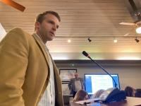 Brian May, president of Vista Bank's Austin branch, addressed Rollingwood City Council on Feb. 19. (Brian Rash/Community Impact Newspaper)