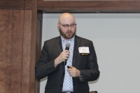 Jordan Brooks, market specialist at ALN Apartment Data, speaks at the Houston Apartment Association's Montgomery County State of the Submarket Breakfast on Feb. 18. (Eva Vigh/Community Impact Newspaper)