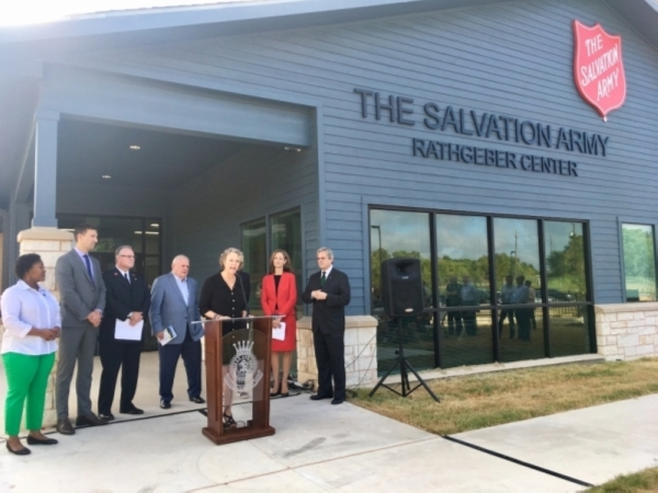 City officials and Salvation Army members gathered in front of the Rathgeber Center in September to publicly push for donations to support operating costs. (Christopher Neely/Community Impact Newspaper)