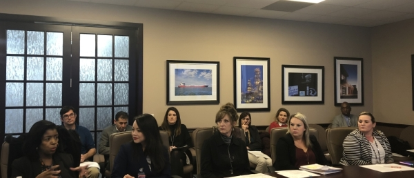 Leaders from five Houston-area education foundations spoke about their roles within their respective ISDs at a Feb. 20 Bay Area Houston Economic Partnership committee meeting. (Colleen Ferguson/Community Impact Newspaper)