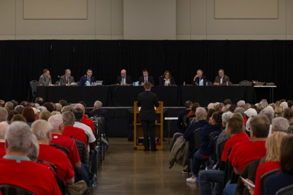 The special meeting Feb. 20 lasted nearly five hours. (Trevor Nolley/Community Impact Newspaper)